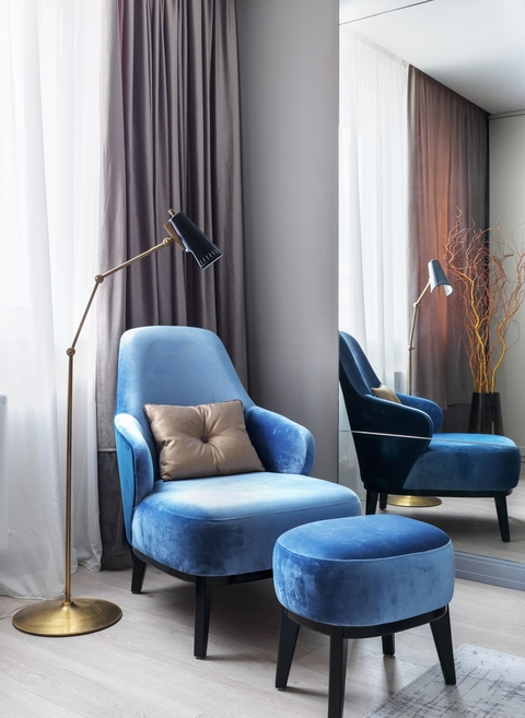 living room without sofa just chairs
