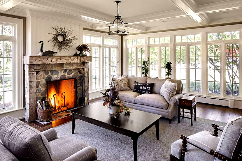 Sunrooms with fireplace